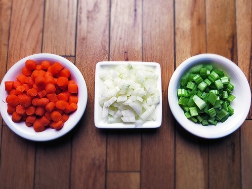 Start with chopped onion, carrots and celery
