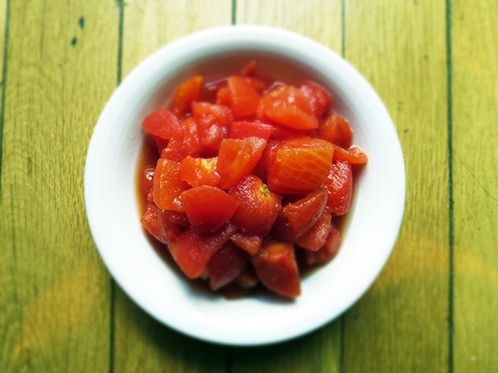 Sweet chopped tomatoes add richness
