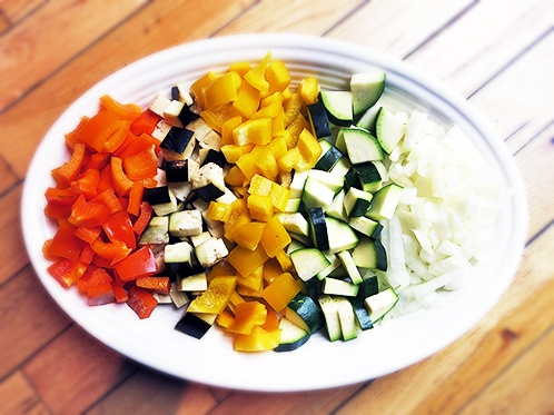 Colorful chopped veggies for a simple summer dish